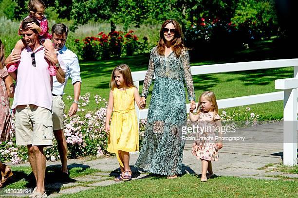 Crownprince Frederik Crownprincess Mary Princess Isabella Princess Josephine Prince Joachim and Princess Athena attend the annual summer photo call...