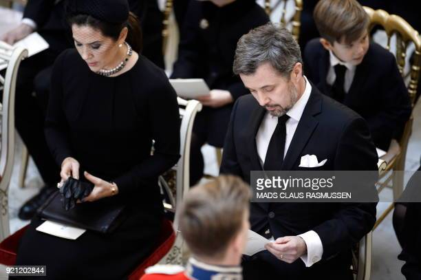 Crownprincess Mary and crownprince Frederik of Denmark attend the funeral of Denmark's Prince Henrik at Christiansborg Palace Chapel in Copenhagen on...