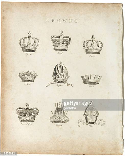 crowns, copper plate, 1812 - mitre stock pictures, royalty-free photos & images