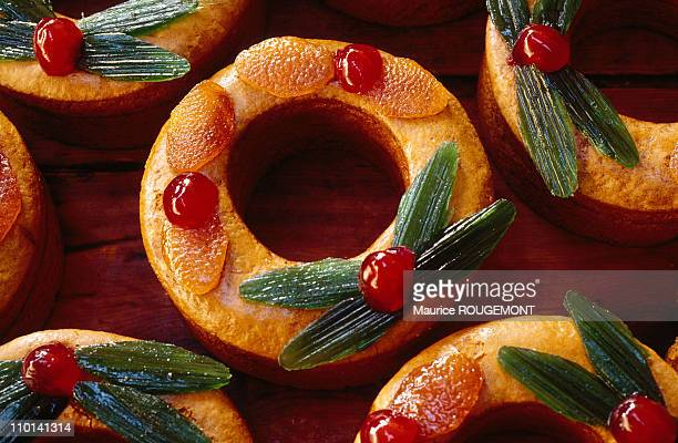 Crowns decorated with candied fruits in Dijon France in 1997