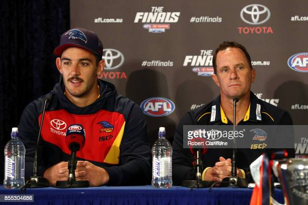 Crows captain Taylor Walker and Crows coach Don Pyke field questions during the 2017 AFL Grand Final press conference on September 29 2017 in...