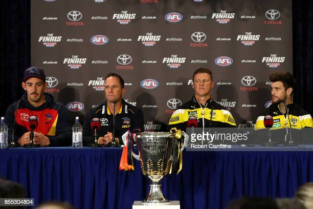 Crows captain Taylor Walker Crows coach Don Pyke Tigers coach Damien Hardwick and Tigers captain Trent Cotchin attend the 2017 AFL Grand Final press...
