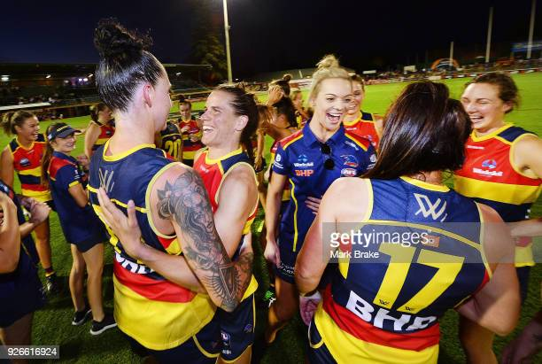 Crows celebrates the win after the game during the round five AFLW match between the Adelaide Crows and the Carlton Blues at Norwood Oval on March 3...
