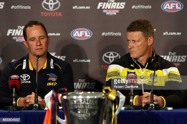 Crows coach Don Pyke and Tigers coach Damien Hardwick field questions during the 2017 AFL Grand Final Parade on September 29 2017 in Melbourne...