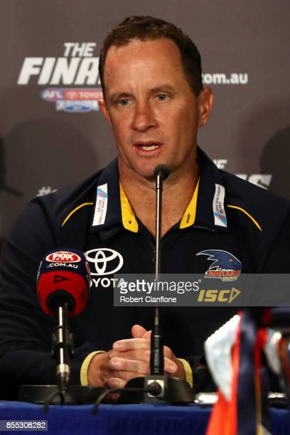 Crows coach Don Pyke talks during the 2017 AFL Grand Final press conference on September 29 2017 in Melbourne Australia