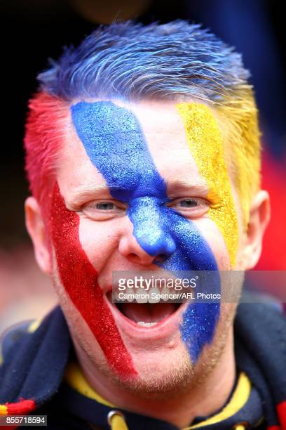 Crows fan shows his colours during the 2017 AFL Grand Final match between the Adelaide Crows and the Richmond Tigers at Melbourne Cricket Ground on...