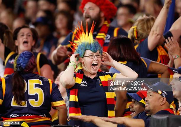Crows fans celebrate making it through to the grand final during the 2017 AFL First Preliminary Final match between the Adelaide Crows and the...