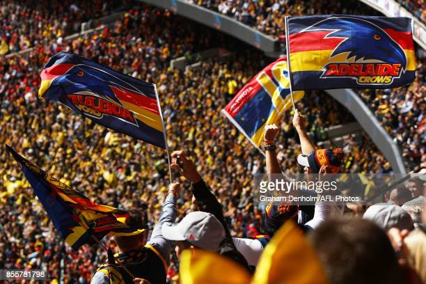 Crows fans show their support during the 2017 AFL Grand Final match between the Adelaide Crows and the Richmond Tigers at Melbourne Cricket Ground on...