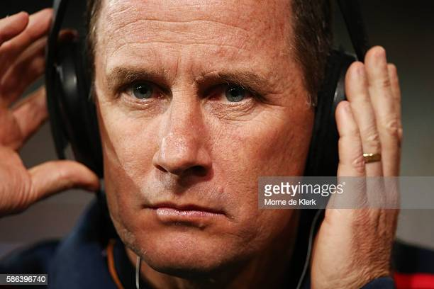 Crows head coach Don Pyke is interviewed during the round 20 AFL match between the Adelaide Crows and the Brisbane Lions at Adelaide Oval on August 6...