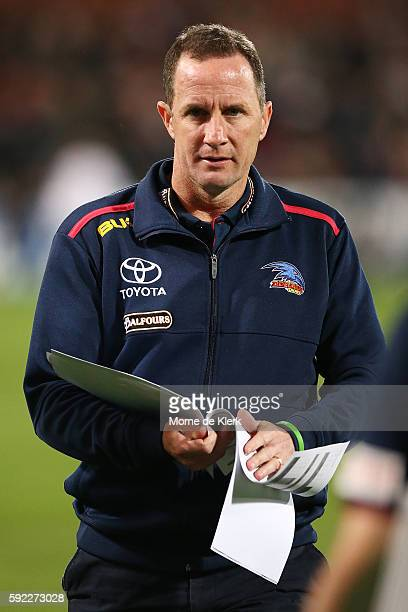 Crows head coach Don Pyke looks on during the round 22 AFL match between the Port Adelaide Power and the Adelaide Crows at Adelaide Oval on August 20...