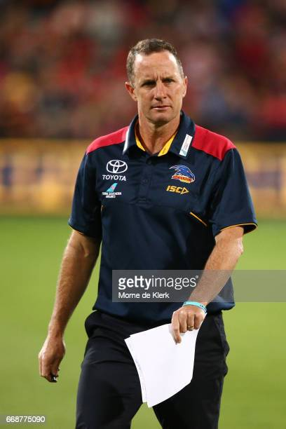 Crows head coach Don Pyke looks on during the round four AFL match between the Adelaide Crows and the Essendon Bombers at Adelaide Oval on April 15...