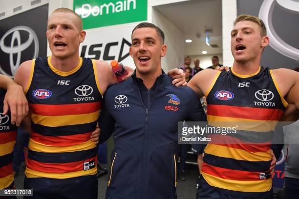 Crows players sing the club song after the round six AFL match between the Adelaide Crows and Gold Coast Suns at Adelaide Oval on April 28 2018 in...