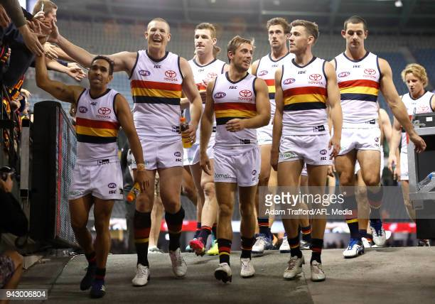 Crows players thank fans during the 2018 AFL round 03 match between the St Kilda Saints and the Adelaide Crows at Etihad Stadium on April 7 2018 in...