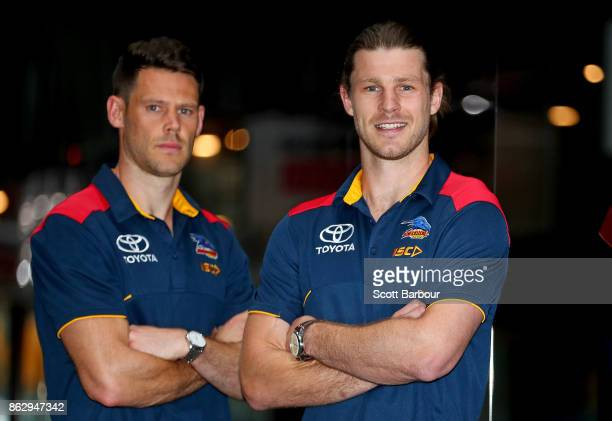 Crows recruits Bryce Gibbs and Sam Gibson pose following the AFL Draft Period at Etihad Stadium on October 19 2017 in Melbourne Australia