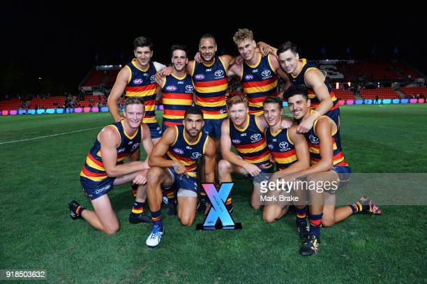 Crows winners of the inaugral AFLX premiership during the AFLX match between XXXX and XXXX at Hindmarsh Stadium on February 15 2018 in Adelaide...