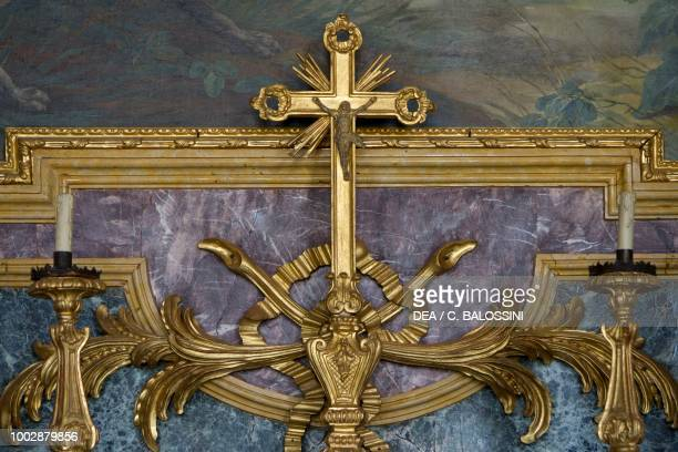 Crucifix detail of the altar in the chapel of Saint Hubert Hunting residence by Filippo Juvarra Stupinigi Piedmont Italy 18th century