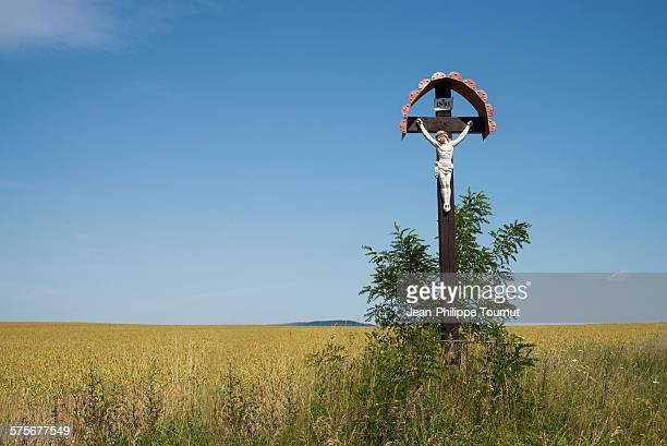 crucifix in a rural area of slovakia - traditionally slovak stock pictures, royalty-free photos & images
