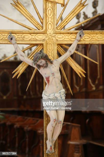 crucifix in madona del carmine church, nardo, italy. - madona stock photos and pictures