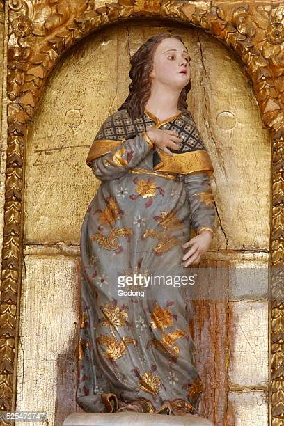 Crucifix in the Capilla mudejar de San Bartolome Cordoba Detail showing Mary at the foot of the cross