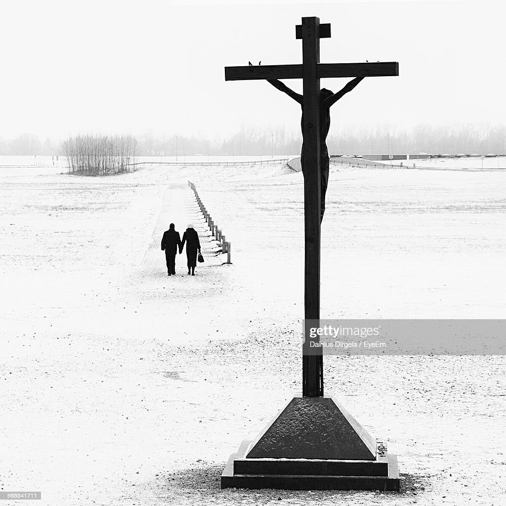 Crucifix On Snow Covered Field : Stock Photo
