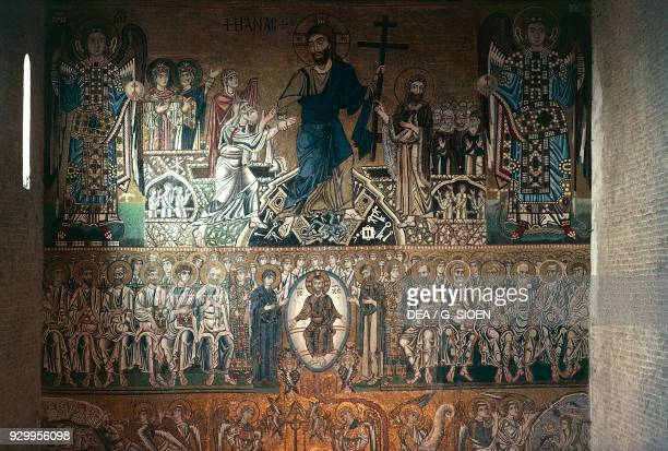 Crucifixion and The Last Judgement mosaic on the counterfacade of the Basilica of St Mary of Assumption Torcello Island Lagoon of Venice Veneto Italy...