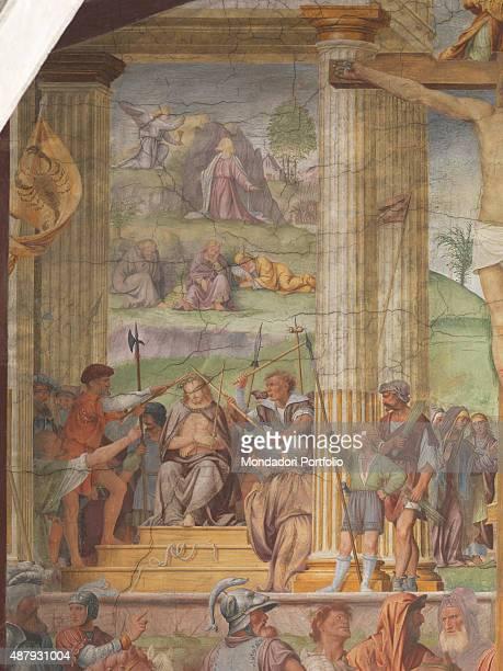 Crucifixion by Bernardino Luini 16th Century fresco Switzerland Lugano Chiesa di Santa Maria degli Angeli Detail Jesus sitting wearing the crown of...