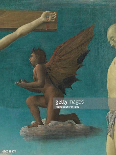 'Crucifixion by Bramantino 16th Century oil on panel 372 x 270 cm Italy Lombardy Milan Brera Picture Gallery Detail A devil depicted in dark shades...