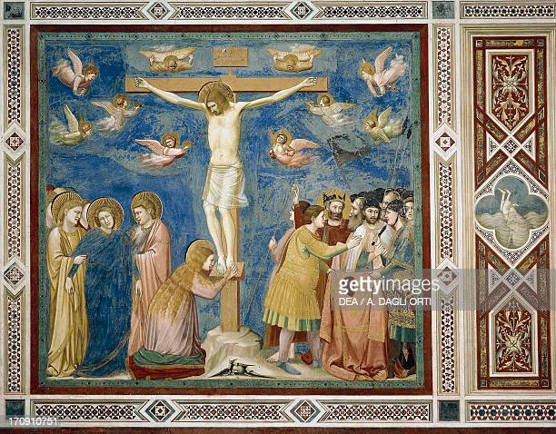 Crucifixion by Giotto detail from the cycle of frescoes Life and Passion of Christ 13031305 after the restoration in 2002 Scrovegni Chapel Padua...