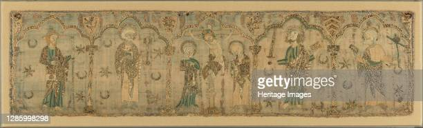 Crucifixion flanked by Saints, British, circa 1270 . Crucifixion of Jesus witnessed by Saint John, the Virgin, and saints James the Greater , Peter ,...