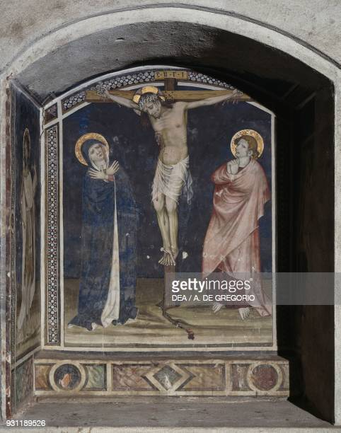 Crucifixion fresco in the Baronial Hall Castle of Manta Saluzzo Piedmont Italy 15th century