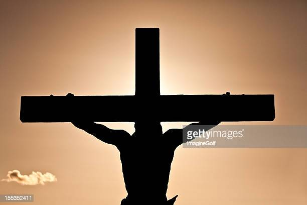 crucifixion or easter silhouette - images of jesus on the cross at calvary stock pictures, royalty-free photos & images