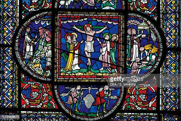 Crucifixion stainedglass window Canterbury Cathedral England United Kingdom