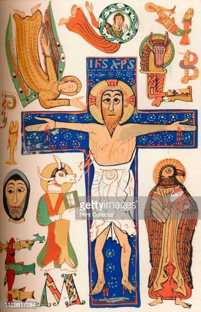 Crucifixion with decorated letters c790 AD Christ on the cross with angels and sacred beasts Facsimile of a page in the Gellone Sacramentary an 8th...