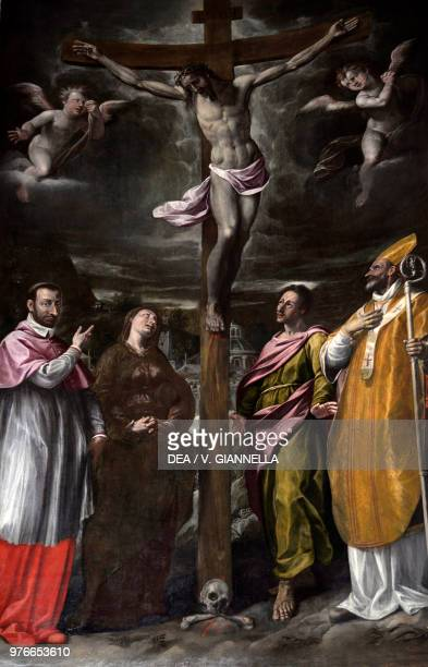 Crucifixion with Virgin and St John accompanied by St Carlo Borromeo and St Ambrose ca 1610 by Giovanni Paolo Cavagna Basilica of Santa Maria...