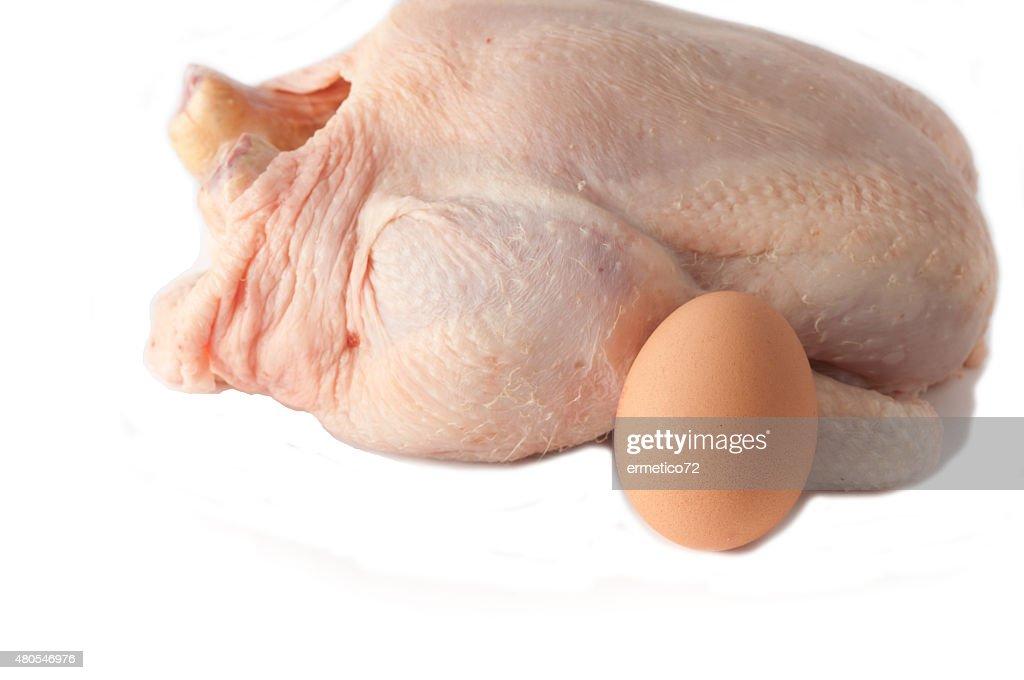 Crudo gallina y el huevo en bruto sobre un fondo blanco : Foto de stock