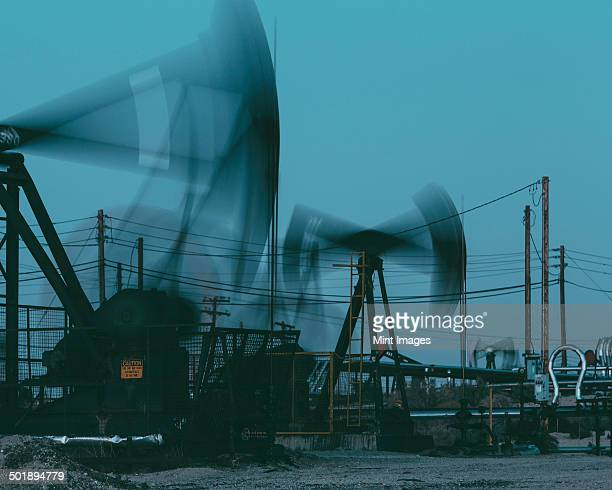 Crude oil extraction from Monterey Shale near Bakersfield, California, USA.