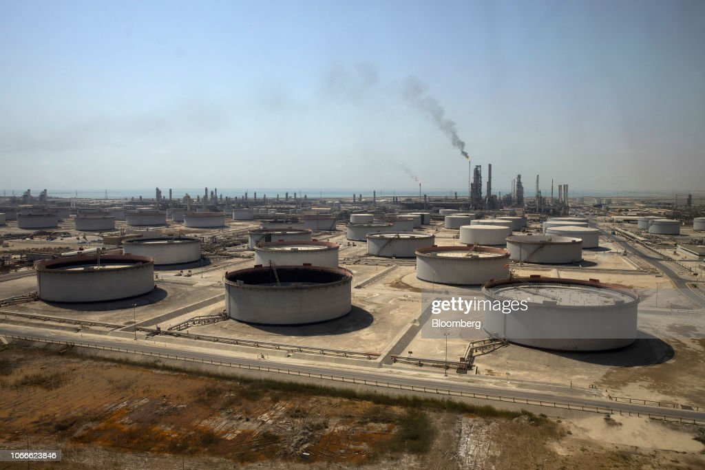 Crude oil storage tanks at the Juaymah Tank Farm in Saudi