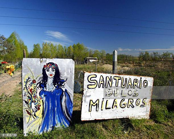 SAINT GILDA A crude painting and a placard which reads Shrine of the Miracles marks the entrance to the temple of Saint Gilda 13 September 2004 along...