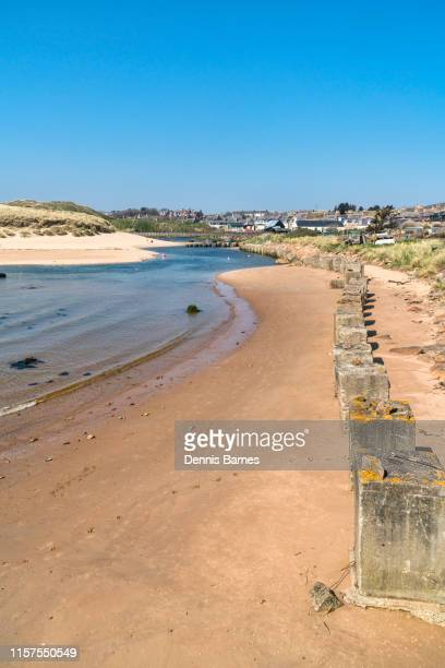 cruden bay sandy estuary near aberdeen, aberdeenshire, highland region, scotland uk - aberdeenshire stock pictures, royalty-free photos & images