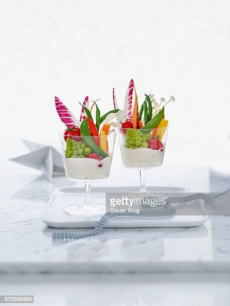Crudites served with fresh artichoke dip