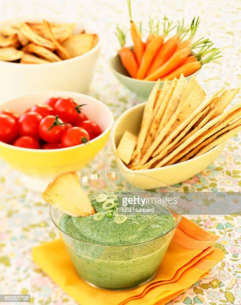 Crudites with pita chips , and dip