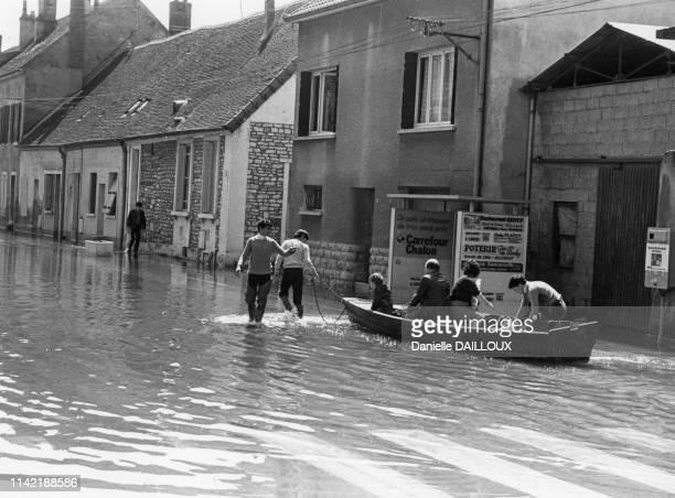 Crue de la Saône à Chalon-sur-Saône, en mai 1983, France.