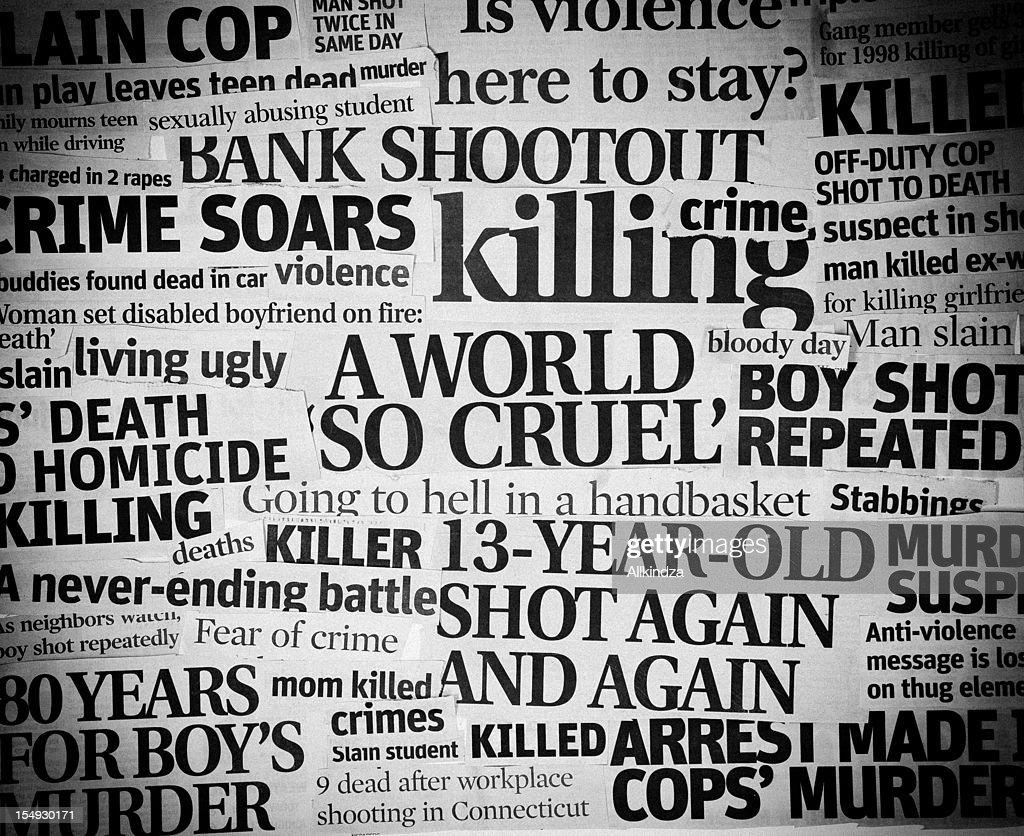Cruel World headline collage : Stock Photo