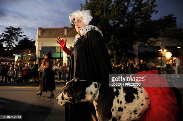Cruella de Vil makes her way down Derby street at the 23rd Annual Salem Chamber of Commerce Haunted Happenings Grand Parade which launches the...