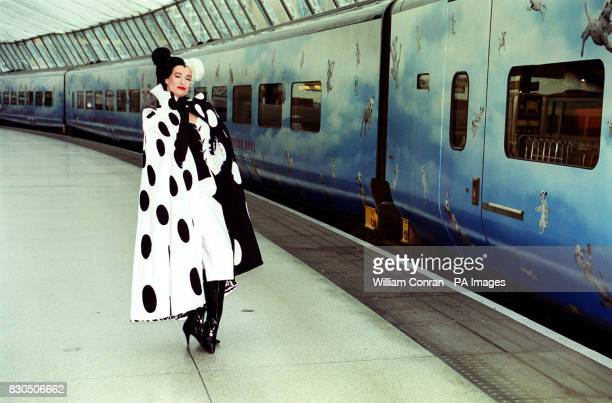Cruella DeVil at Waterloo Station in London to launch Disney's 102 Dalmations Eurostar train All 18 coaches of the train are covered with images of...