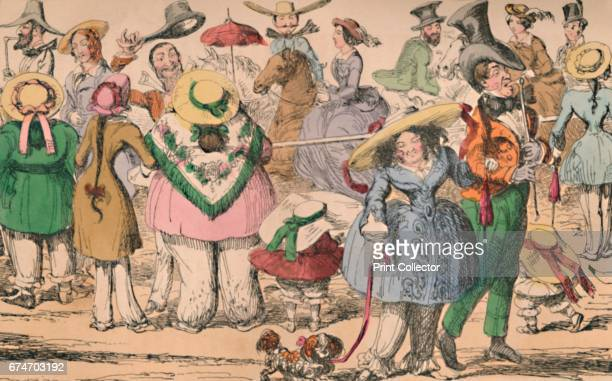 Cruikshank's Exhibition of Bloomers in Hyde Park, 1852', c1870. George Cruikshank's original satirical etchings first published for The Comic...