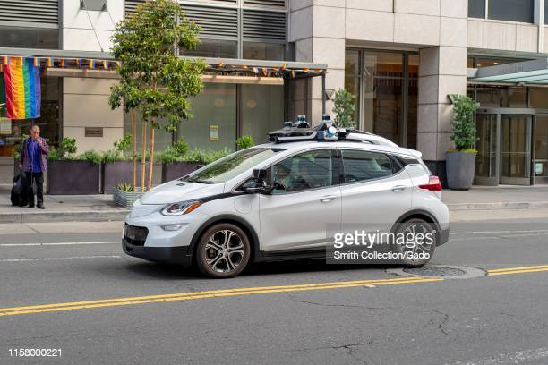 Experimental selfdriving vehicle from automaker Honda driving in the South of Market neighborhood of San Francisco California June 20 2019