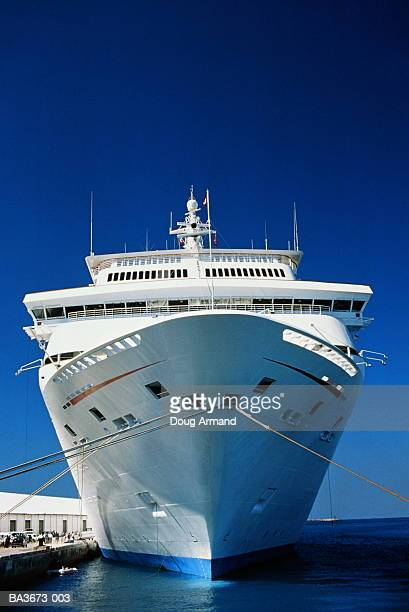 Cruise liner moored in harbour, Bahamas EDITORIAL USE ONLY