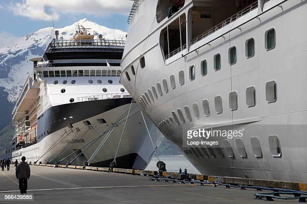 Cruise liners moored at Skagway in Alaska.
