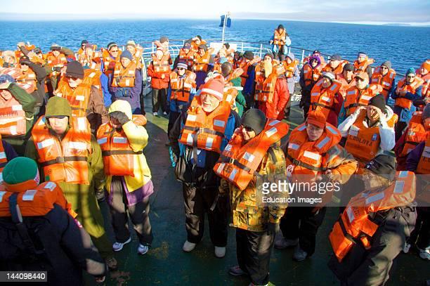 Cruise North Expedition Passengers On Lifeboat Drill Northwest Passage Nunavut Arctic Canada